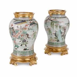 Pair of ormolu mounted Chinese famille verte porcelain vases