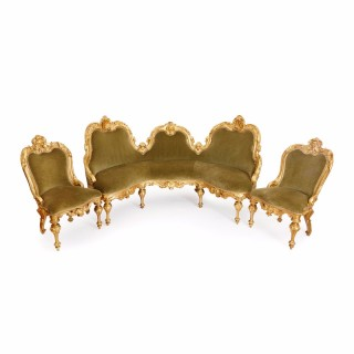 Italian giltwood antique three piece salon suite