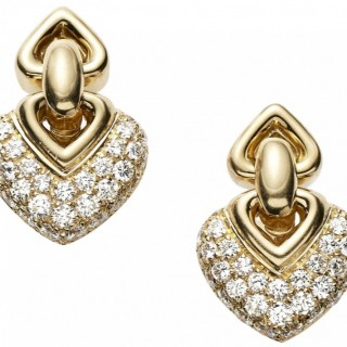 Bvlgari diamond and 18ct gold Doppio Cuori earrings