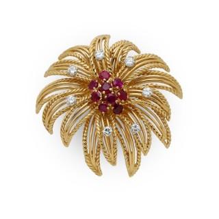 Boucheron ruby, diamond and 18ct yellow gold brooch
