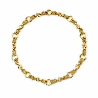 Hermes 18ct yellow gold textured and polished link necklace
