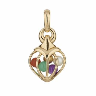 Bvlgari 18ct gold and multi gemstone heart pendant