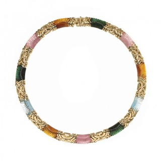 Bvlgari carved gemstone and 18ct yellow gold necklace
