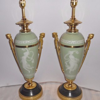 Pair of ormolu and patinated bronze mounted Pate-sur-Pate Lamps