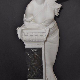 A bronze mounted Italian alabaster sculpture of a lady