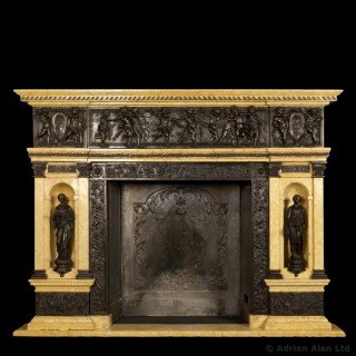Patinated Bronze and Sienna Marble Fireplace