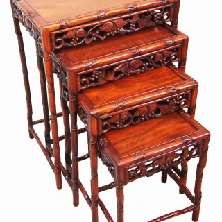 Antique 19th Century Oriental Hardwood Quartetto Nest Of Coffee Tables