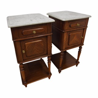 Pair of Walnut and Marble Topped Bedside Cabinets