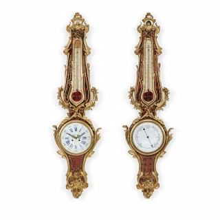 Ormolu and tortoiseshell clock and barometer set by Gleizes