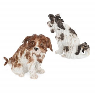 Pair of antique Meissen porcelain models of Bolognese terriers