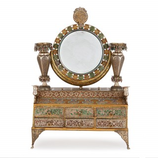 Arabesque style enamelled silver dressing and marriage box