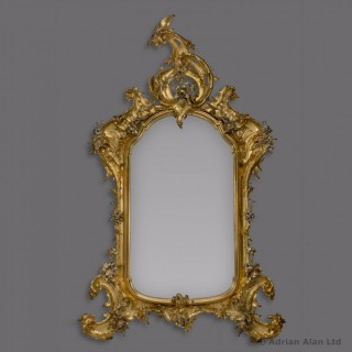 Rococo Style Carved Giltwood And Silver Gilt Mirror