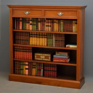 Victorian Solid Walnut Open Bookcase by Maple & Co