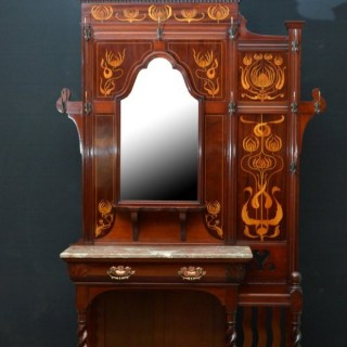 Art Nouveau Mahogany Hall Stand by Shoolbred