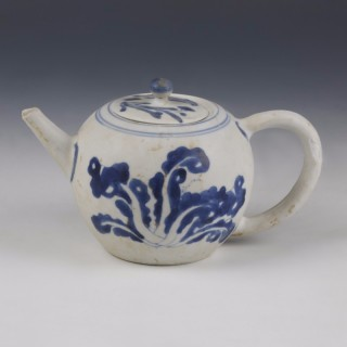 Kangxi White and Blue Export Ware Teapot