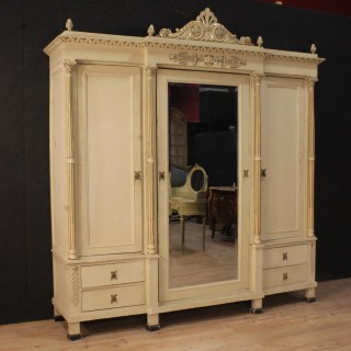 20th Century Italian Lacquered Wardrobe In Louis XVI Style