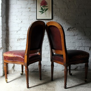 A Good Pair of Early Victorian Golden Oak & Leather Upholstered Library Chairs c.1840-50