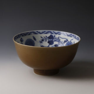 Chinese Kangxi Brown Glazed and Blue and White Bowl