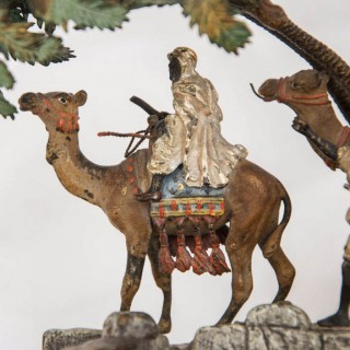 Viennese Orientalist cold painted bronze group by Bergman