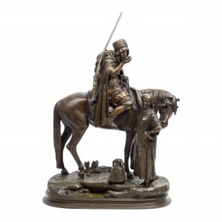 Patinated bronze Orientalist sculpture by Dubucand