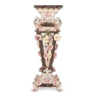 Antique Royal Dux porcelain figure on large pedestal