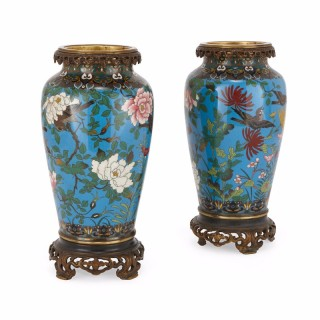 Pair of antique Japanese ormolu mounted cloisonné enamel vases