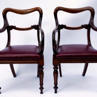 Pair of Antique Mahogany Open Armchairs or Desk Chairs