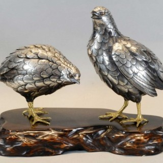 A CHARMING JAPANESE SILVERED BRONZE QUAIL OKIMONO BY HIDENAO