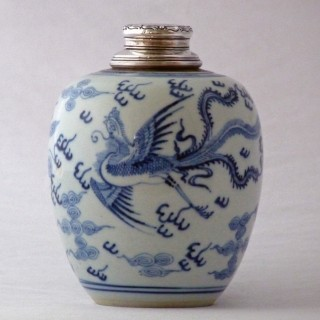Chinese early 18th Century Blue and White Silver Topped Jar