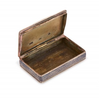 Russian silver niello rectangular snuff box with hinged lid