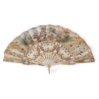 Parcel gilt, mother-of-pearl, silk and paper antique fan