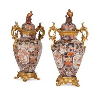 Pair of large ormolu mounted Japanese Imari porcelain vases