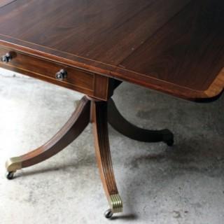A Good Regency Period Inlaid Mahogany Pedestal Pembroke Table c.1825