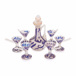 Enamelled glass antique liqueur set by Moser