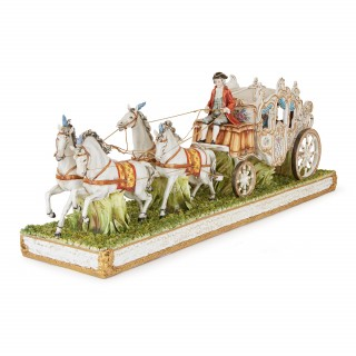 Italian Tiche porcelain horse and carriage group
