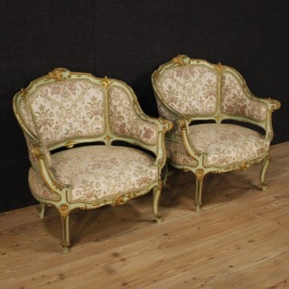 20th Century Pair Of Venetian Lacquered Ang Gilt Armchairs