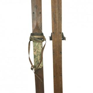 Antique English Oak Skis.