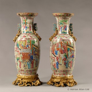 Gilt-Bronze Mounted Famille Rose Porcelain Vases with Dragon Handles