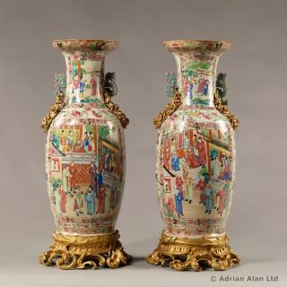 Gilt-Bronze Mounted Famille Rose Porcelain Vases with Dragon Handles