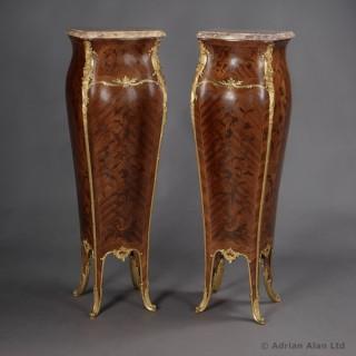 Pair of Louis XV Style Marquetry Bombé Pedestals