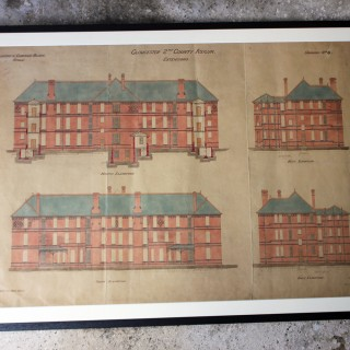 A Rare & Very Interesting Group of Five Framed Late Victorian/Edwardian Period Architect's Drawings and Plans Relating to the Horton Road First Gloucestershire County Lunatic Asylum & The Coney Hill Second Gloucestershire County Lunatic Asylum; c.1880-190