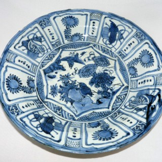 Ming  Kraak Blue and White Large Dish