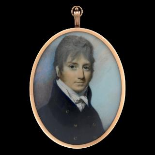 Portrait miniature of a Gentleman, wearing blue coat, white shirt and cravat