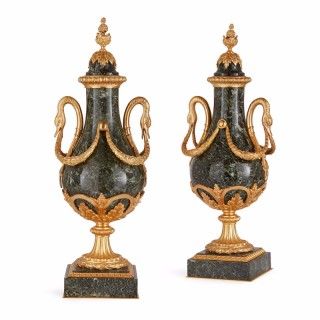 Pair of French ormolu mounted green marble antique vases