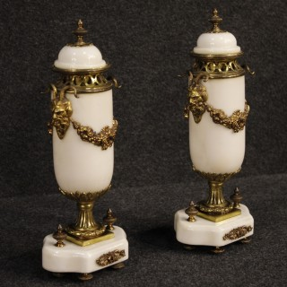 20th Century Pair Of French Potish Vases In Marble And Bronze