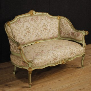 20th Century Venetian Lacquered Sofa With Floral Fabric