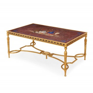 Italian porphyry, lapis lazuli and pietra dura coffee table