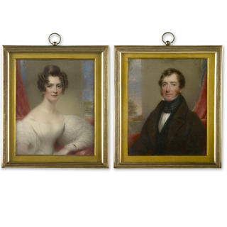 A pair of portraits of Mr and Mrs John Hoskin Harper; she wearing white dress and gold bracelet; he in dark brown coat, black waistcoat and cravat, red curtain, stone and landscape backgrounds, dated 1833