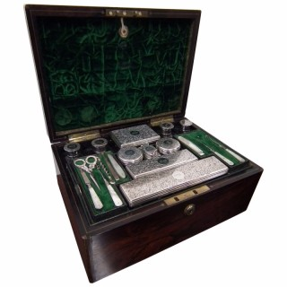 Ladies Travelling Case with Hallmarked Silverware