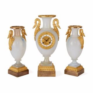 Restauration period opaline glass clock set by de Boussiard